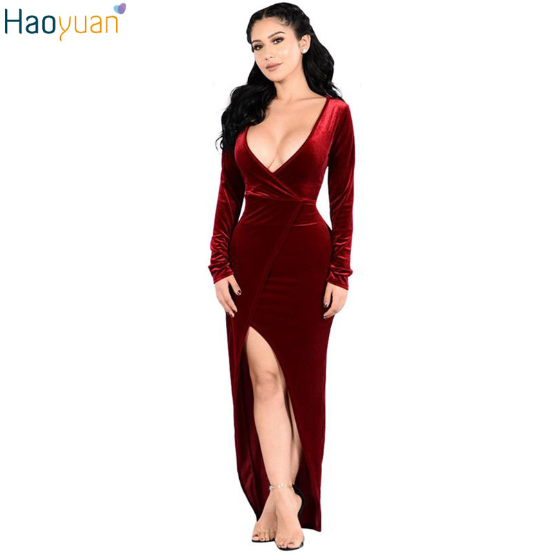 Haoyuan Autumn Sexy Velvet Maxi Dresses Deep V Neck Long Sleeve