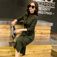 Winter of the new women's clothing Half a turtle neck long sleeve head hair long cultivate one's morality dress sweater female