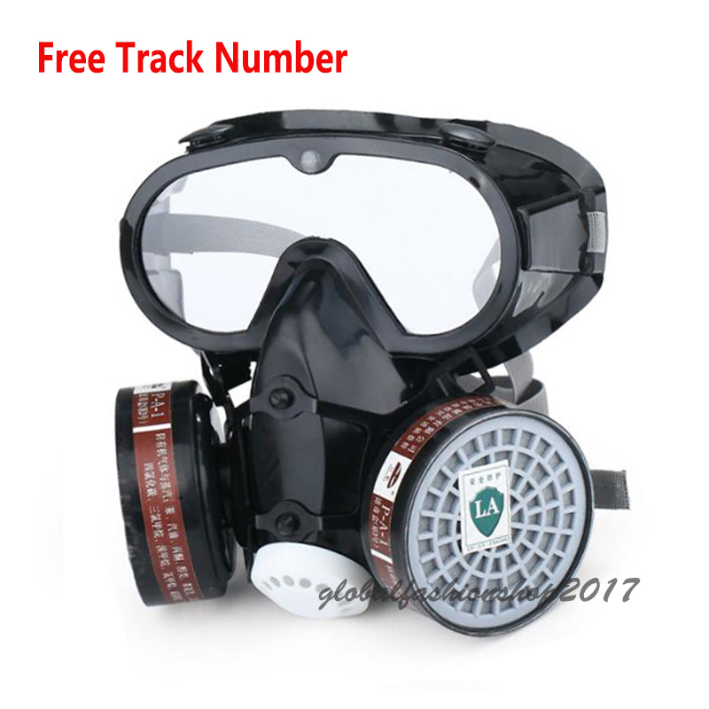 Safety Industry Respirator paint Spray Chemical Gas Mask Anti-Dust Filter With Military Eye Goggle Set new safurance protection filter dual gas mask chemical gas anti dust paint respirator face mask with goggles workplace safety