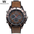 Leather Watches Alloy Case Fashion Men Watch Dual Time Quartz Wristwatch Digital Clock Men relogios masculino montre hommeWS1006