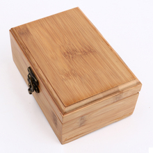 Customized wooden Nature bamboo casket with laser printing Golden Lock Postcard Home Organizer Craft Jewelry blank Case ZSN-B