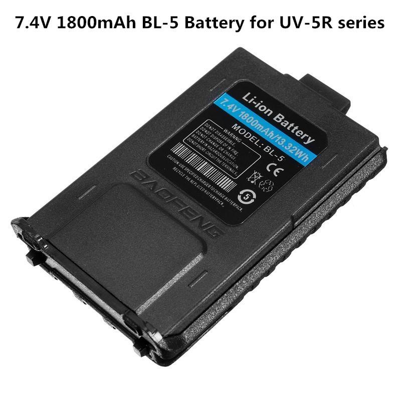 7.4V 1800mah Kapasiti Besar Tahan Lama UV-5R Siri BaoFeng BL-5 Li-ion Bateri Radio Walkie Talkie Dua Arah Aksesori Radio Baru