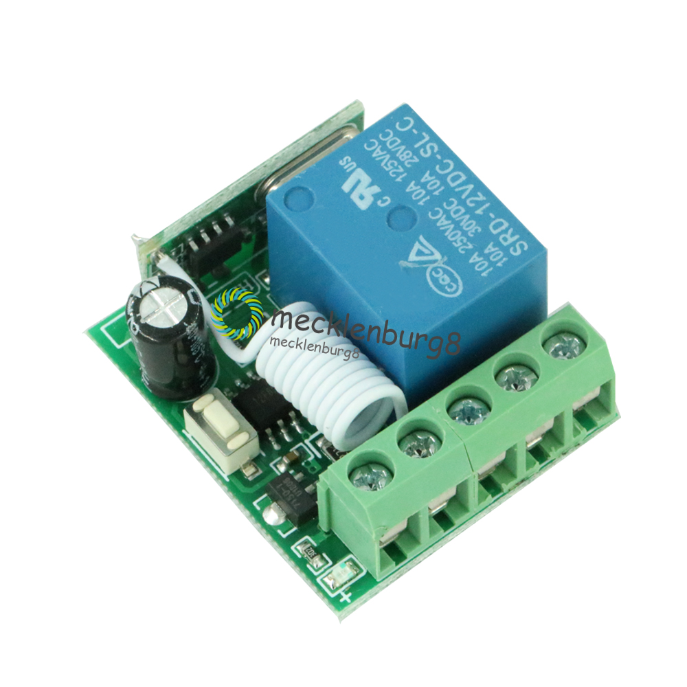DC 12 V to 1 channel 433 mHz wireless relay module RF remote control Switch oscillator receiver control Lehr board MCU RF freque