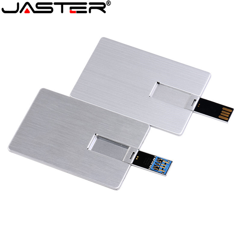 JASTER Usb Flash Drive 4GB 8GB 16GB 32GB 64GB Metal Card Pendrive Business Gift Usb Stick Credit Card Pen Drive