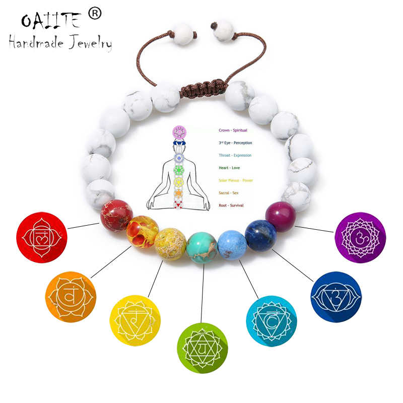 OAIITE  7 Chakra Round Beads Natural Stone Bracelet  For Women Men Healing Balance Therapy Yoga Jewelry Chakra Prayer Adjustable