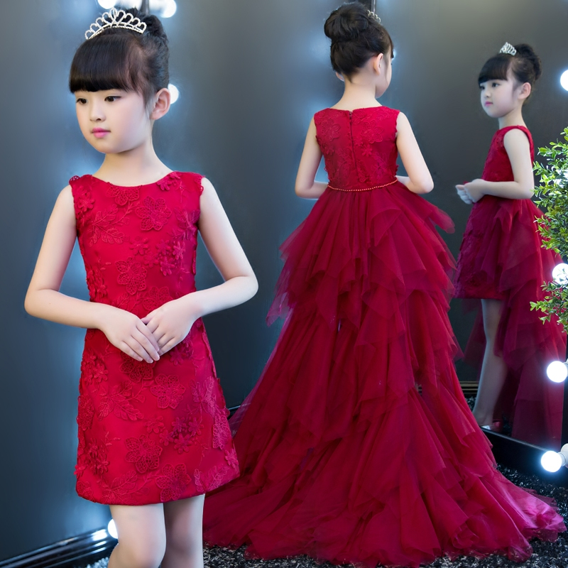 2017 New High Quality Elegant Red Color kids Girls Birthday Party Princess Lace Dress Children Ball Gown Long Trailing Dress new high quality children girls red color shoulderless princess dress kids birthday wedding party mesh dress school player dress
