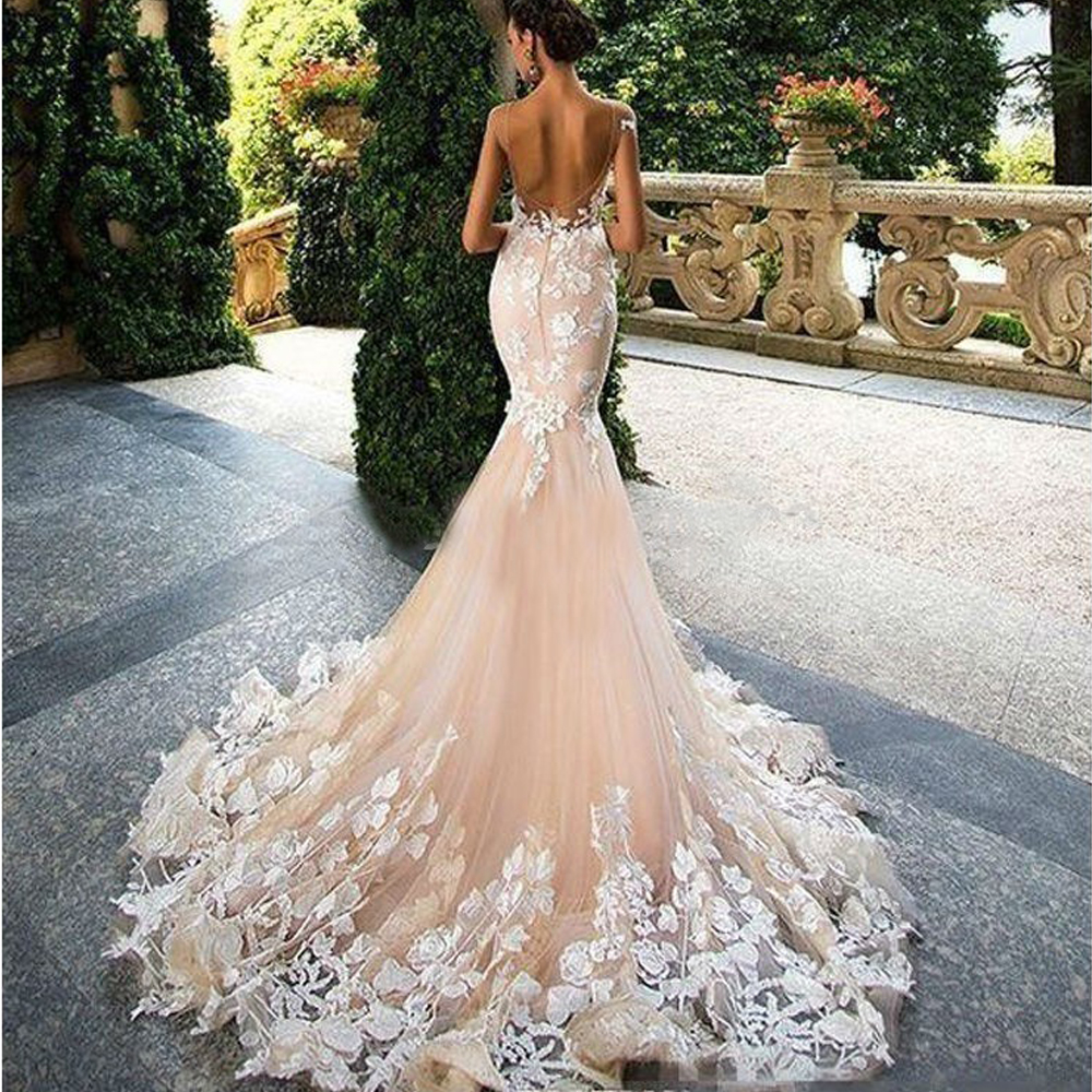 Luxury Champagne Mermaid Wedding Dresses 2020 Open Back Short Sleeves Wedding Gowns Lace Appliques Robe De Mariage Bride Gowns