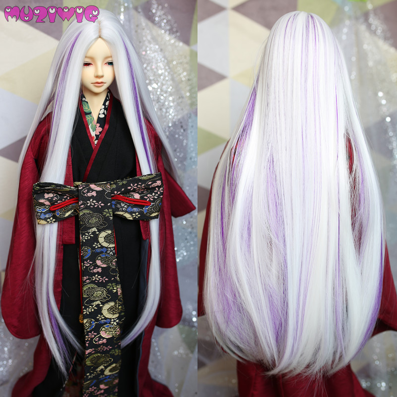 Hard-Working Muziwig Synthetic Ancient Style White Purple Green Silver Grey Long Straight Doll Wig Hair For Bjd 1/3 Dolls Wigs Accessories