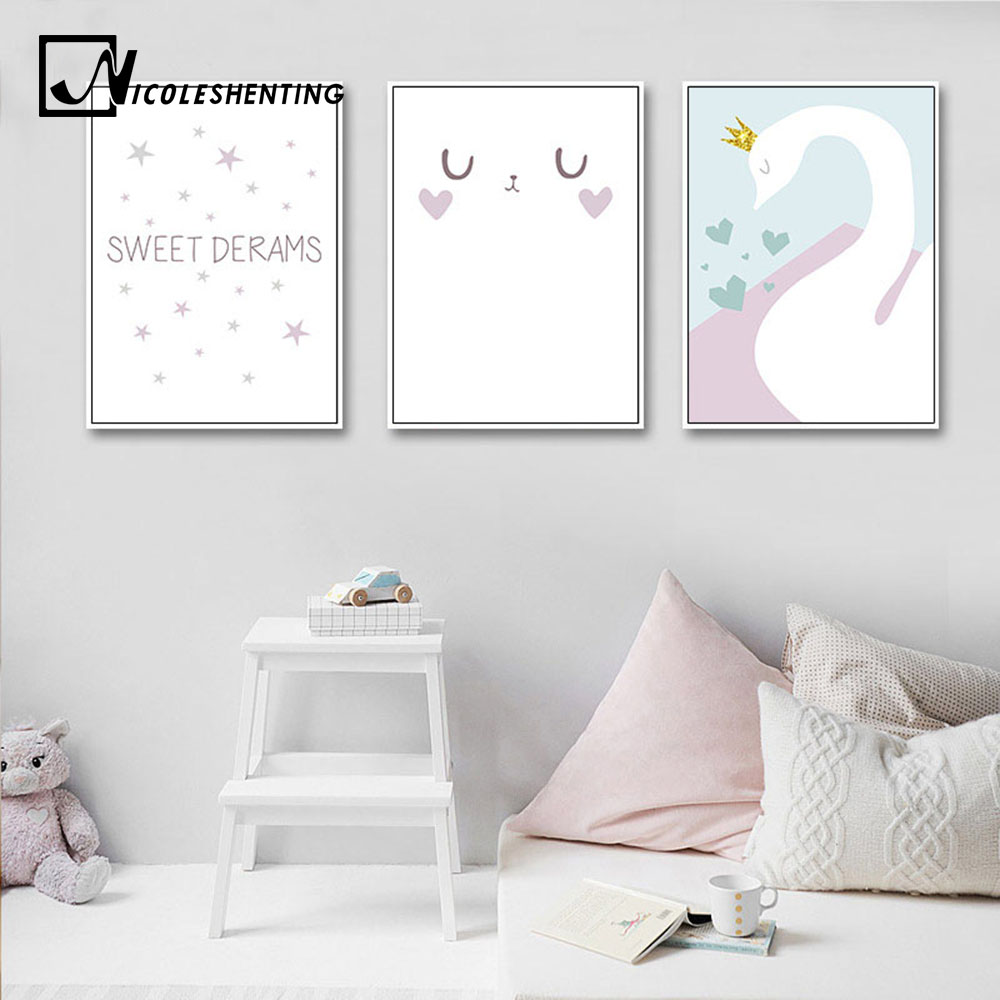 Cartoon Swan Baby Nursery Wall Art Canvas Painting Minimalist Posters Prints Nordic Kids Decoration Pictures Living Room Decor toilet seat