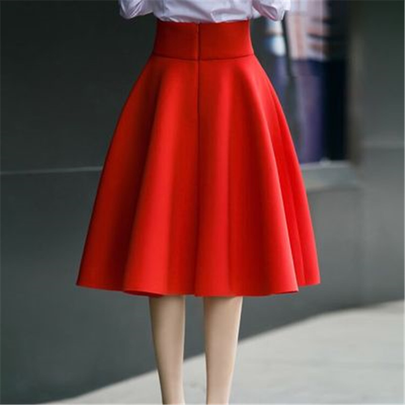 Elegant Skirt Jupe Flared Pleat Knee-Length Black White High-Waist Green Plus-Size Fashion