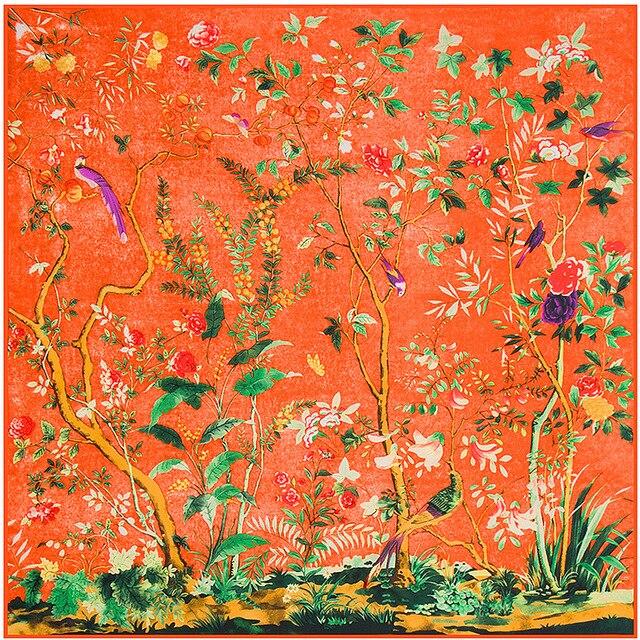 Осень И Зима Новая Мода Дамы Шарфы 130 См * 130 См тяжелые Шелка Саржевого Шарф Цветы И Птицы Джунгли Женщин шарфы