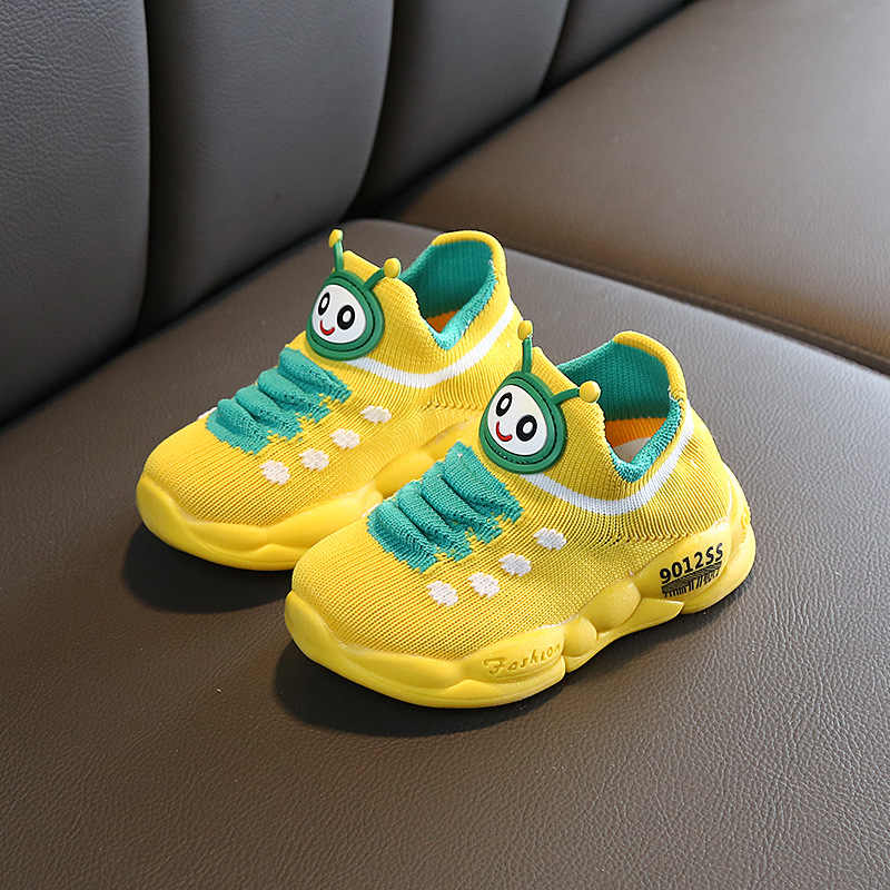 Kids Shoes For Toddler Girls Leisure Outdoors Casual Children Shoes Breathable Mesh Knit Cartoon Caterpillar Boys Sneakers Soft