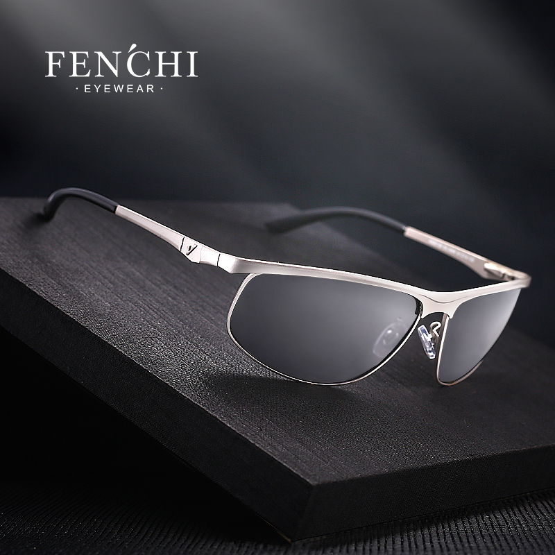 FENCHI Polarized Solbriller Menn Brand Designer New Fashion Metallglass Driving UV400 Solbriller Eyewear Goggles