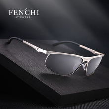 FENCHI Polarized Sunglasses Men Brand Designer New Fashion Metal Glass