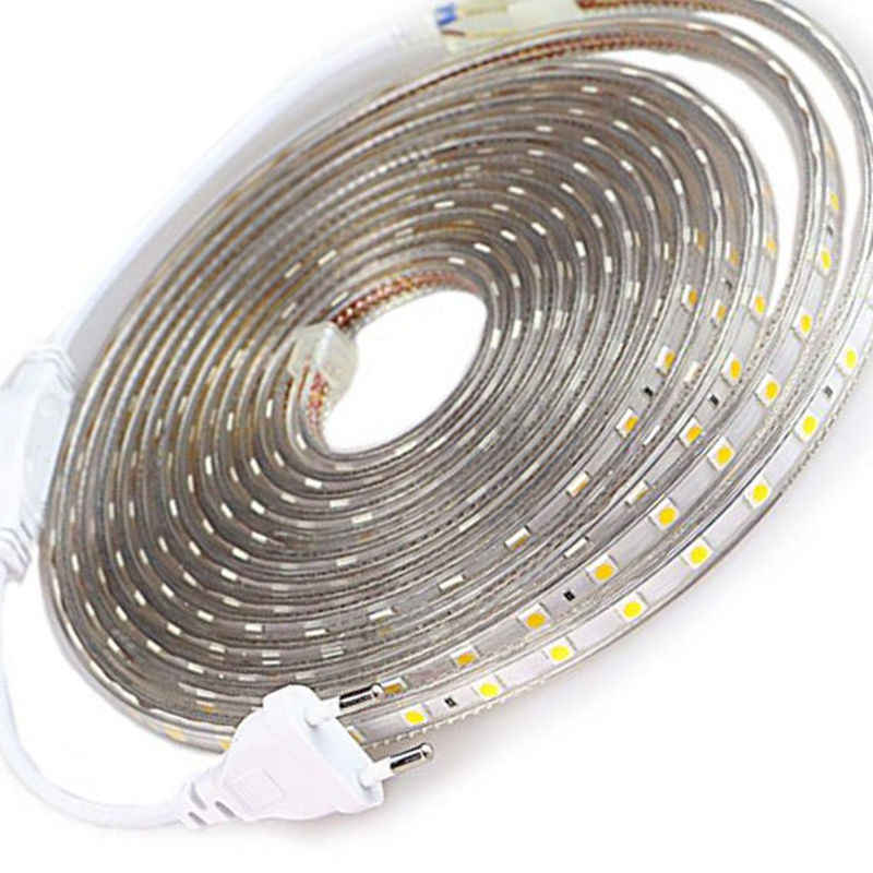 SMD 5050 AC220V elastyczna taśma LED, jasna 60 leds/m wodoodporna taśma LED LED z wtyczka zasilania 1 m/2 M/3 M/4 M/5 M/6 M/8 M/10 M/15 M/ 20M
