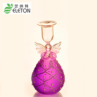 ELETON Purple Angel Candle Holders Glass Candlestick European Wedding Jewelry Home Furnishing Novelty Gift
