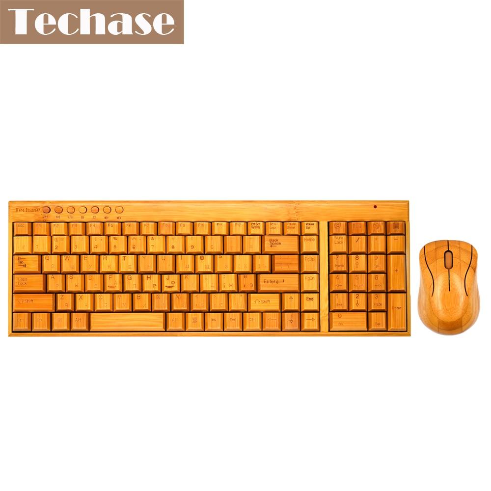 Techase Bamboo Design Keyboard Keyboard Keyboard Keyboard Teclado E Mouse Sem Fio Tastierë prej druri dhe kostum miu Letra ruse Klavye