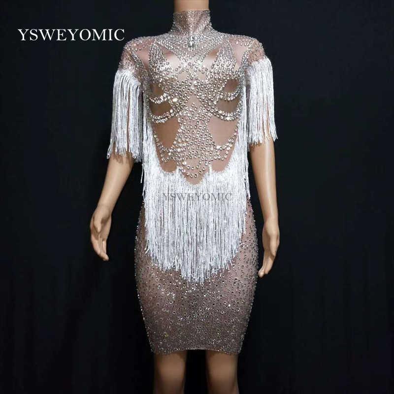 Vestido de fiesta de noche para mujer con cristales brillantes vestido de fiesta de graduación con borlas