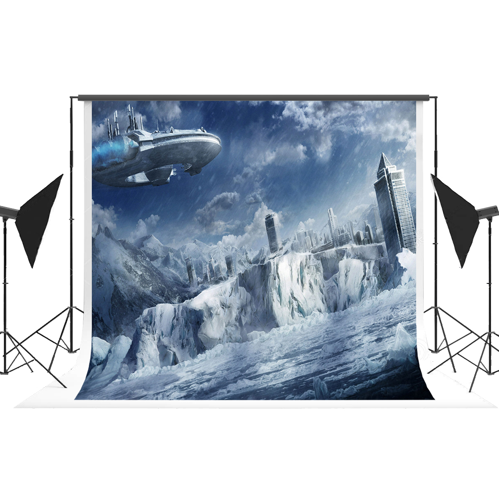 7x5 Backdrop for Photography Cotton Outer Space Ship Ice Photographic Background Fotografia for Fond Studio Photoshoot Kate