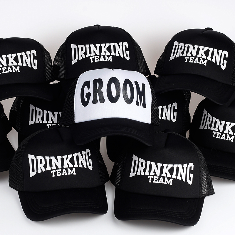 GROOM DRINKING TEAM Print Trucker Caps Polyester Hats Men High Quality Flat Bill Hip-Hop Snapback Hat Gorras Free Shipping feitong summer baseball cap for men women embroidered mesh hats gorras hombre hats casual hip hop caps dad casquette trucker hat
