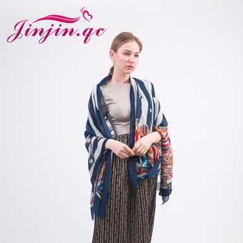 Jinjin. QC mode écharpe rayée armée bottes imprimer femmes châles et écharpes pentagramme echarpe foulard femme bandana pashmina
