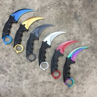 CS GO Counter Strike Black Karambit Knife Neck Knife With Sheath Tiger Fade Tooth Real Game