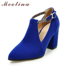 Meotina Women Pumps High Heels Ladies Shoes Elegant Pointed Toe Wedding Female Shoes 2018 Spring Fashion Size 33-43 Blue Black