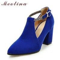 Meotina Women Pumps High Heels Ladies Shoes Elegant Pointed Toe Wedding Female Shoes 2018 Spring Fashion Size 33 43 Blue Black