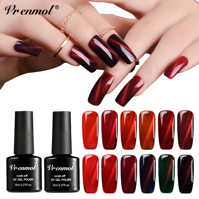 US $0 58 35% OFF|Vrenmol Red Flame Cat Eye Nail Gel Polish Red Fire Magntic  UV Gel Lacquer Nail Art Design Gel Paint Need Top Base Coat Primer-in Nail