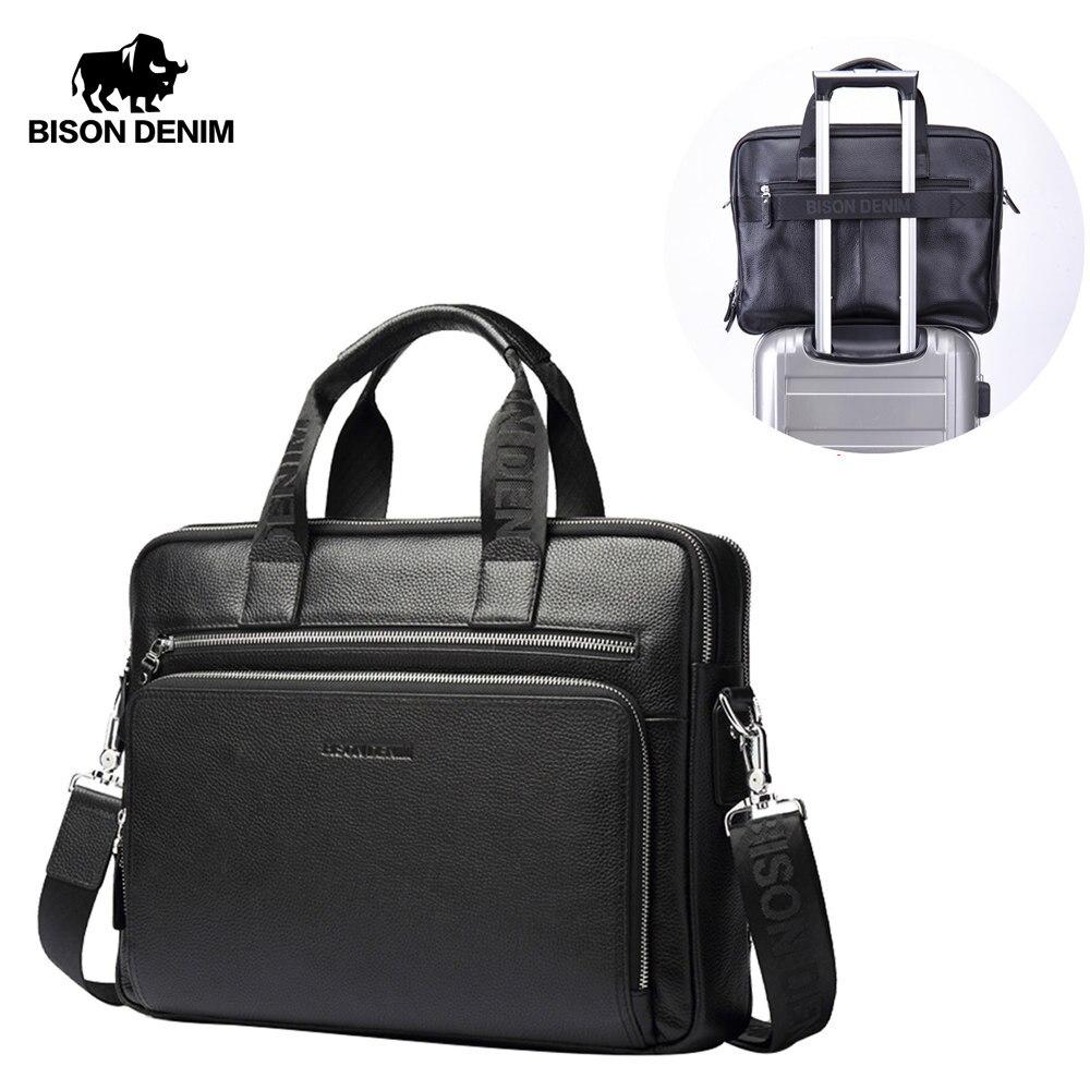 BISON DENIM Genuine leather Men Handbag 17 Laptop Briefcases Large Capacity Men s Business Bag Shoulder