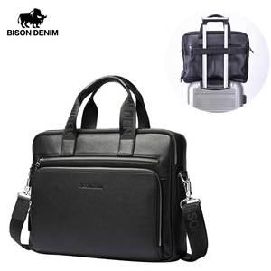 Мужская сумка BISON DENIM из натуральной кожи, 17 дюймов, портфели для ноутбука, большая вместительность, мужская деловая сумка, сумки на плечо, ...