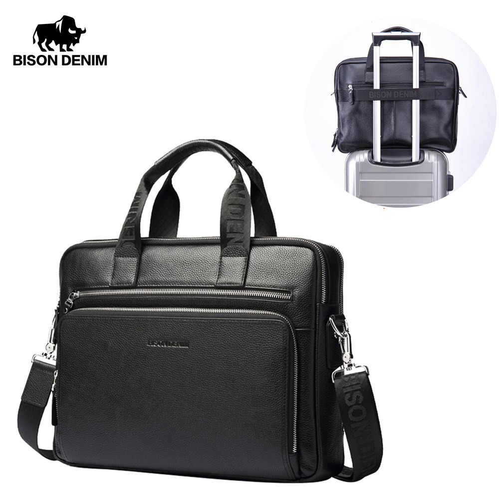 "BISON DENIM Genuine leather Men Handbag 17"" Laptop Briefcases Large Capacity Men's Business Bag Shoulder Bags W2333-4"