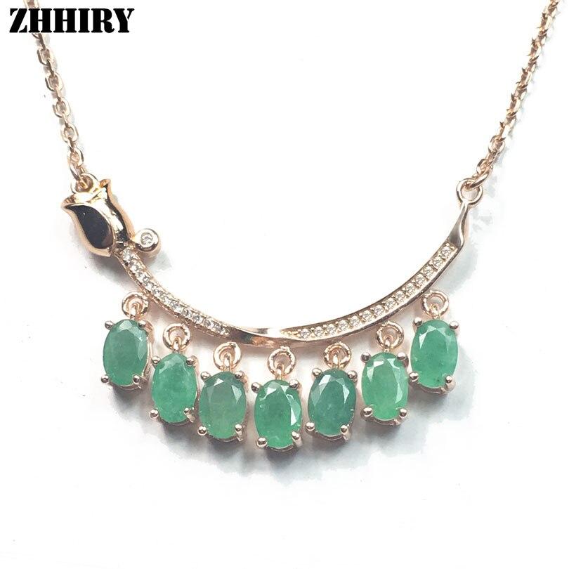 ZHHIRY Green Emerald Halskette Anhänger natürlichen Edelstein - Edlen Schmuck - Foto 3