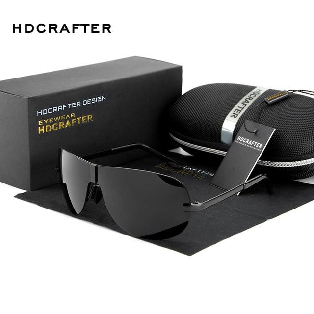 Men's Rimless Oversized Sunglasses Men Alloy Polarized Shades Mirror Glasses Man Luxury Brand Designer Eyewear with Case Oculos