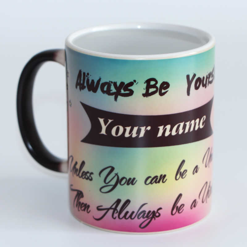 c7b11a79695 Cute unicorn Heat Reveal Mug Ceramic Color Changing Coffee Mug Magic Tea  Cup Mugs print your name on mug as a gift for friends