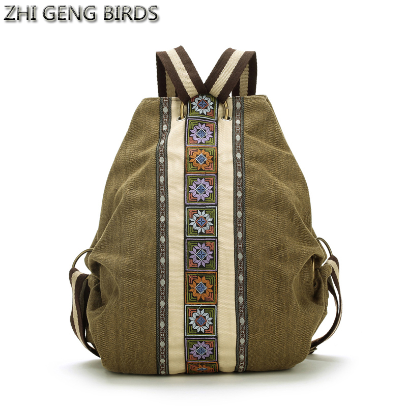 ZHI GENG BIRDS Women Backpack Vintage Canvas Bags For Ladies Travel Small Rucksack Folk Style School