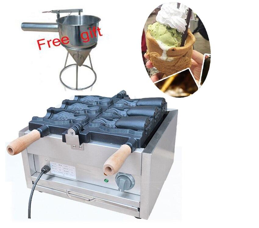 110 v/220 v 3 pcs gros poissons Crème Glacée Taiyaki maker machine avec la bouche ouverte