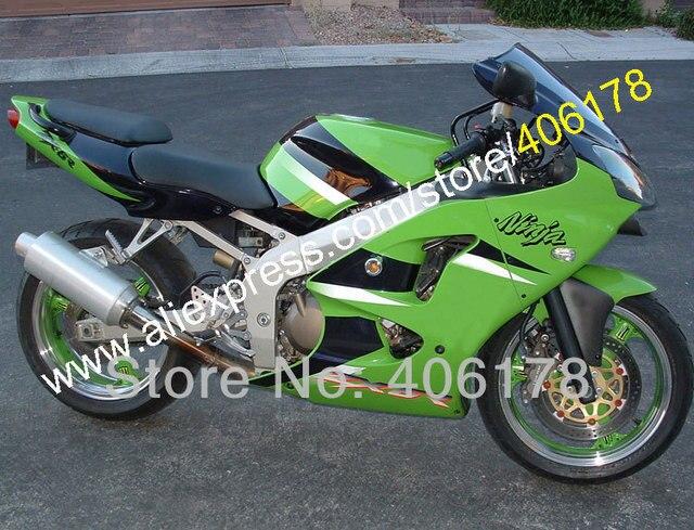 Hot SalesCustom Kit For KAWASAKI NINJA Green Black 98 99 ZX6R ZX 6R 636 1998 1999 Body ZX636 NEW Fairing