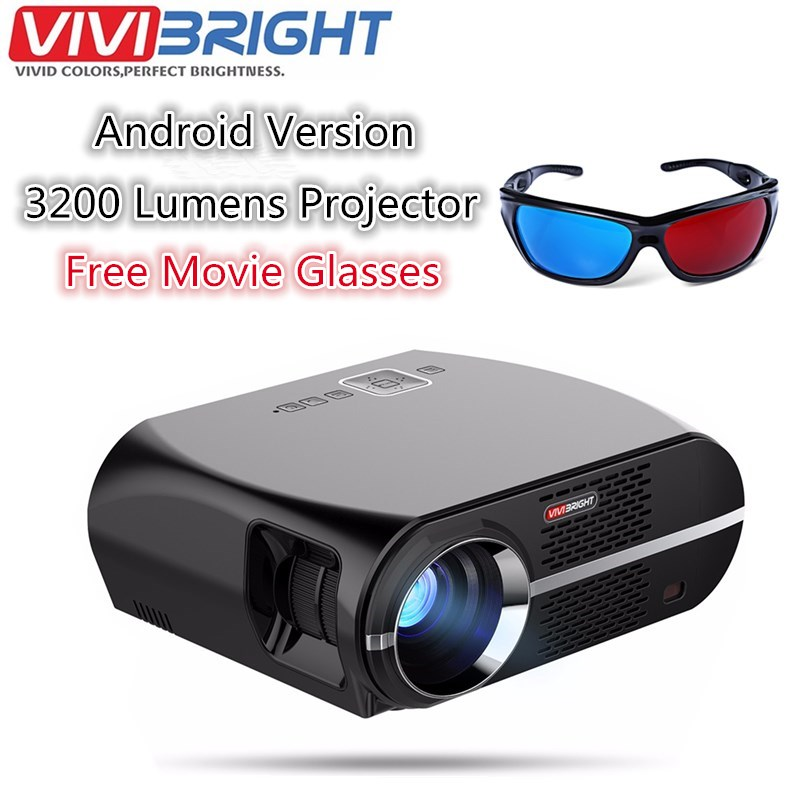 VIVIBRIGHT GP100 Android 6.0.1 LED Projector UP 1280x800 Resolution 3200 Lumens Built-in WIFI Bluetooth DLAN Miracast Alirplay