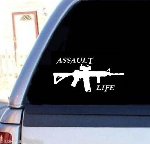 Assault Life Booter Ak47 M16 M4 Decal Sticker for Van Window Wall Laptop Salt image