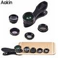 Aokin 5 en 1 lente de la cámara kit de clip universal para iphone samsung xiaomi teléfonos inteligentes lentes de ojo de pez macro gran angular telescopelens