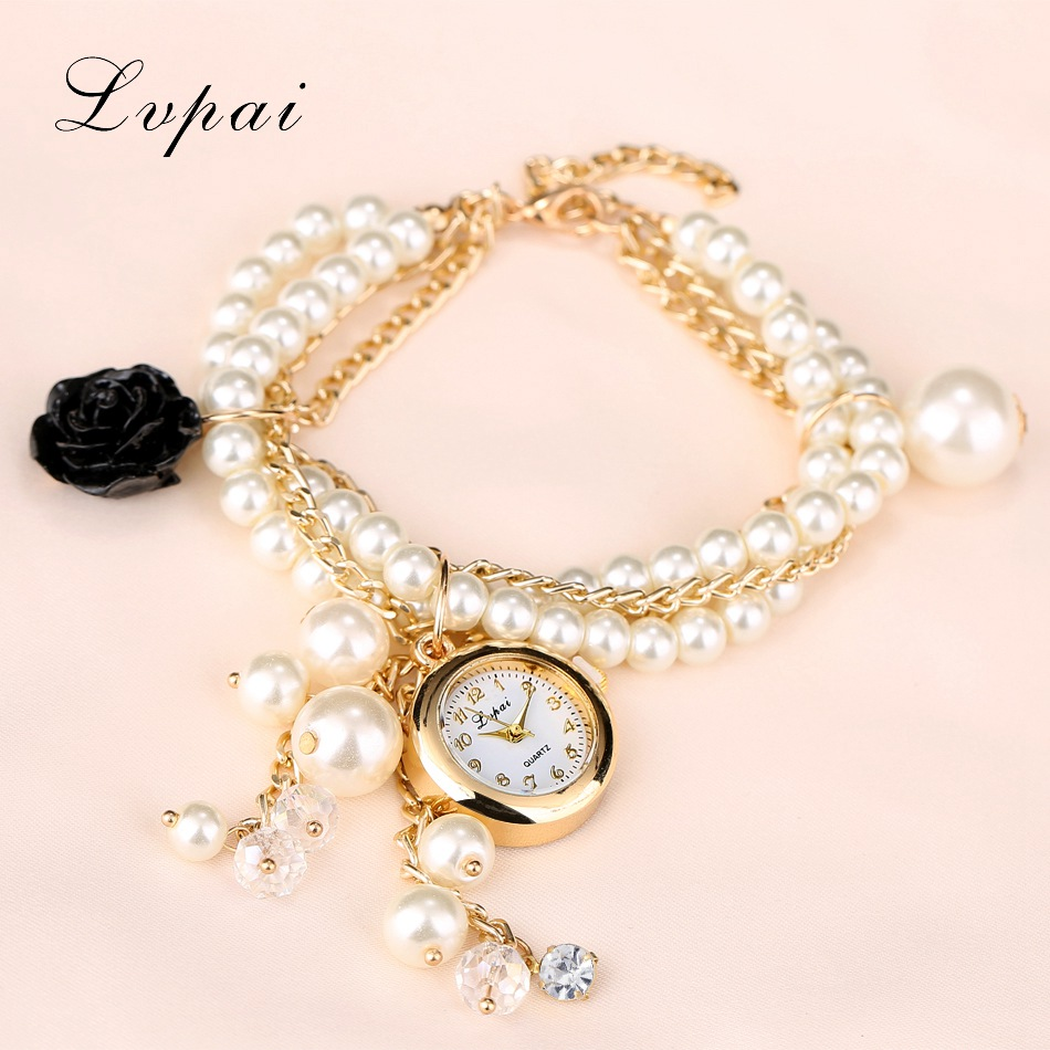 Lvpai 2017 Fashion Women Watch Gold Flowers Bracelet Crystal Pearl Quartz Wristwatch Luxury Ladies Female Vintage Dress Watches fashion casual rose gold sport watch women quartz watch lvpai brand luxury bracelet watches alloy dress ladies female wristwatch