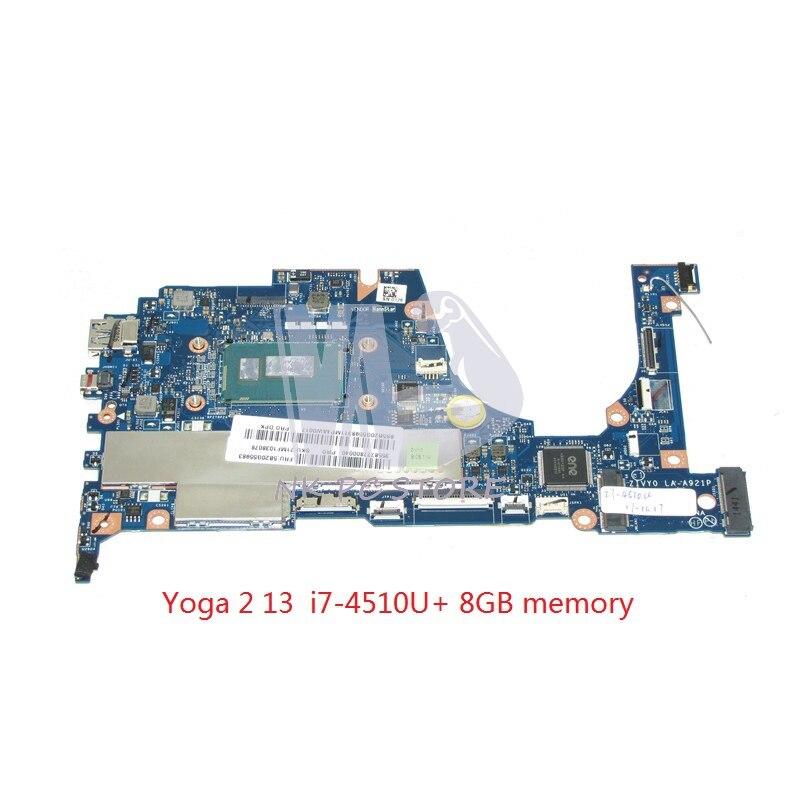 NOKOTION ZIVY0 LA A921P Main Board For Lenovo yoga 2 13 Laptop Motherboard SR1EB I7 4510U CPU 8GB Ram memory Full tested