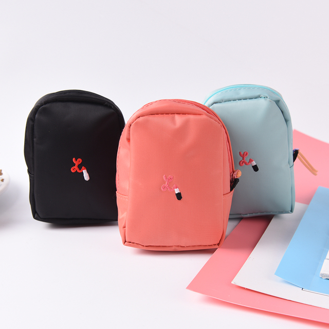 1pcs Waterproof Travel Small Toiletry Bags N Mini Cosmetic Ylon Tiny Lipstick Makeup Pouch Cute
