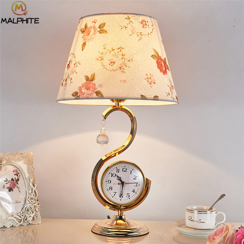Bedroom Table Lamp Red Fabric Shade