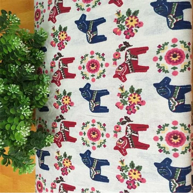 Cotton Linen Sewing Fabric Printed Animal Series Horse Quilting Material DIY Patchwork Textile Cloth