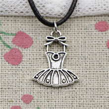New Fashion Antique Silver Charms ballet tutu dress 20*16mm Pendant Necklace Black Leather Cord Hand made Jewelry Necklace(China)