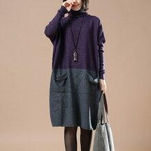 2017 Women Autumn Winter Sweater Knitted Dresses Loose Turtleneck Long Sleeve Pull Over Jumper Dress K Robe Vestidos цены