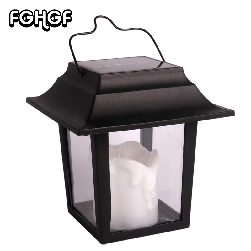 1 Pc Solar Power LED Lantern Lights Outdoor Flickering Flameless With 2*AA Battery Home Decoration For Beach Umbrella Garden