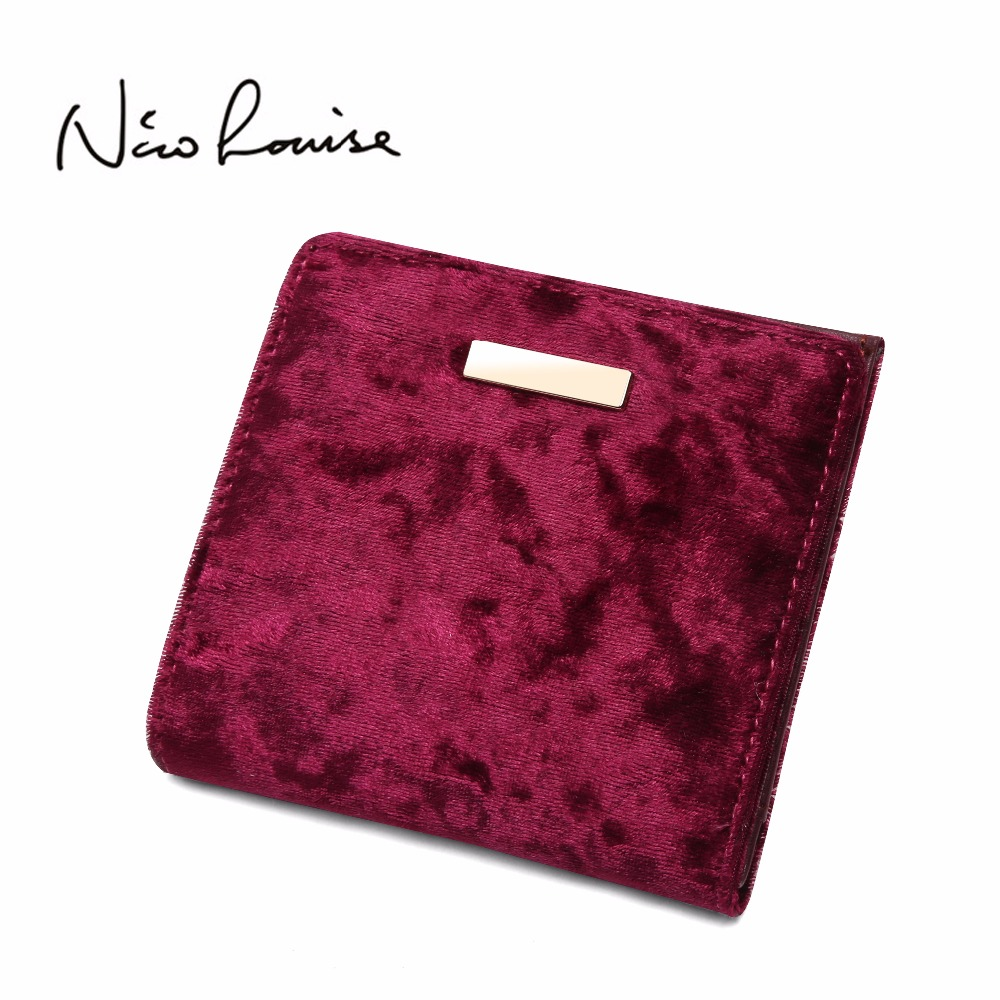 New Fashion Vintage Velvet Slim Women Wallet Short Zipper Soft Small Coin Purse Cards Holder Hasp Hot Female Coin Purses Holders